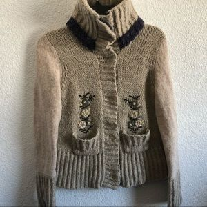 Free People Sweater bulky knit wool embroidery  M